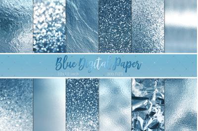 Blue Foil & Glitter Digital Paper
