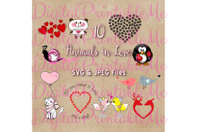 Animals in Love Clip Art, Set of 10 SVG JPG Images, Valentine's Pack,