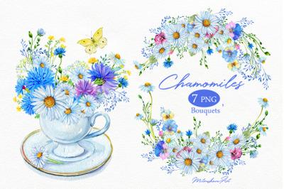 Camomiles Watercolor Bouquet