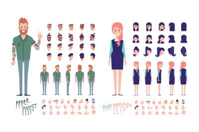 Modern people animation set