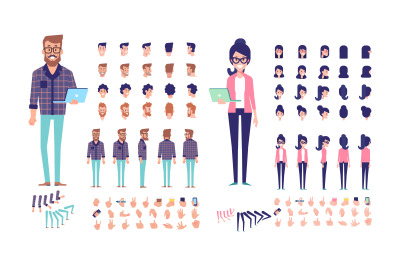Geek Male and female animation vector set
