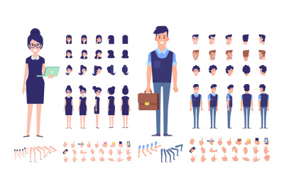 Business Man and Woman animation vector set