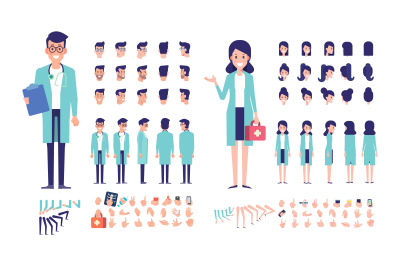 Medical workers Male and female animation set