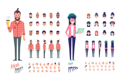 Modern people male and female animation set