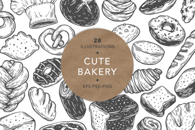 Cute Bakery. Vector Illustrations