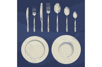 Vintage knife, fork, spoon and dishes in sketch engraving style. Cutle