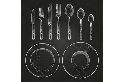 Vintage knife, fork, spoon and dishes in sketch engraving style. Hand