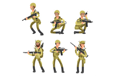Army cartoon man soldiers in uniform. Military concept vector illustra