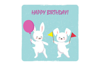 Birthday postcard template with two happy bunnies with balloon and fla