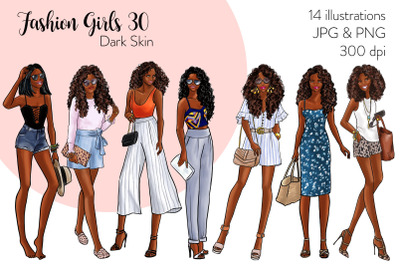 Watercolor Fashion Clipart - Fashion Girls 30 - Dark Skin