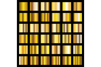 Gold gradient. Golden metal squares vector collection