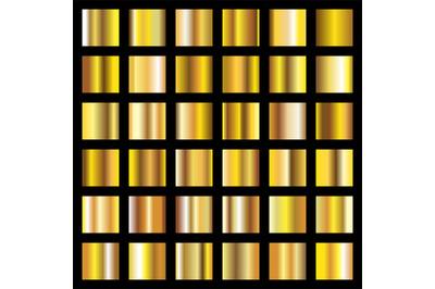 Golden gradients. Gold metal coin textures vector backgrounds