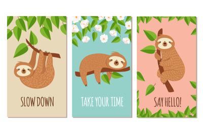 Lazy sloth. Cute slumbering sloths on branch. Child t shirt design or