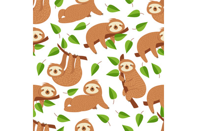 Cute baby sloth bear. Tropical bedroom vector seamless pattern