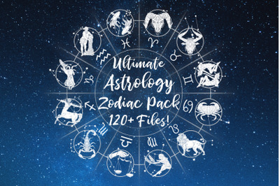 Ultimate Astrology Zodiac Bundle! SVG, PNG, Star Font, 120+ files!