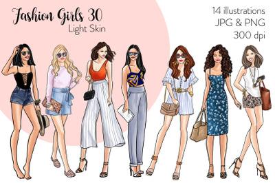 Watercolor Fashion Clipart - Fashion Girls 30 - Light Skin