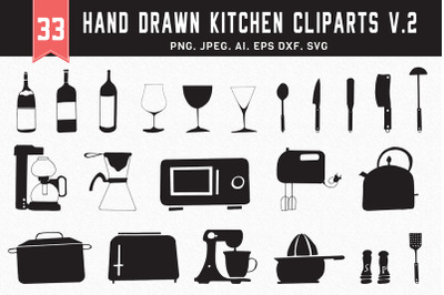 30+ Hand Drawn Kitchen Cliparts Ver. 2