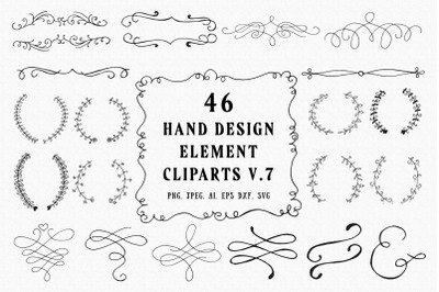 45+ Hand Design Element Cliparts Ver. 7