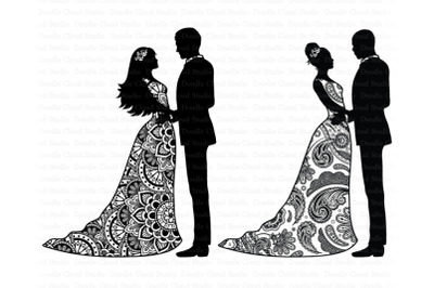 Wedding Mandala SVG, Mandala Bride and Groom SVG, Wedding Clipart.