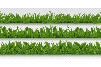 Realistic seamless grass border. Spring pattern with 3D spring herbs,