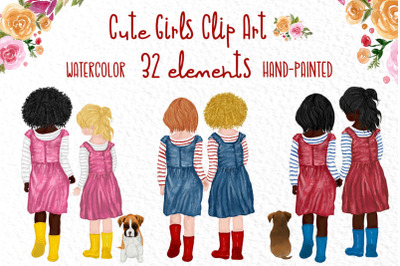 Cute little girls, Little besties clipart,Bff clipart Puppy