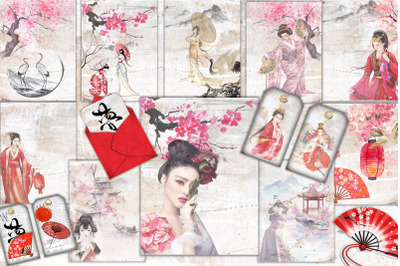 Geisha Japanese Backgrounds with free clipart
