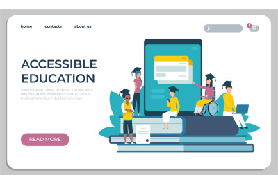 Accessible education website. Online learning for disabled people conc