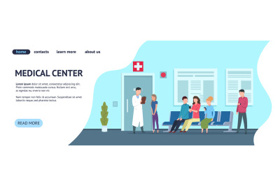 Medical center web template. Hospital vector landing page concept. Doc