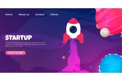 Start up landing page. Web page design templates for startup. Vector 3