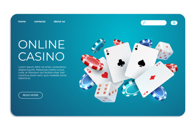 Online casino. Web landing page template for internet poker game. Vect
