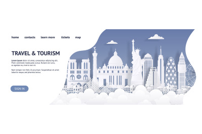 Travel and tourism landing page template. Paper cut landmarks web page