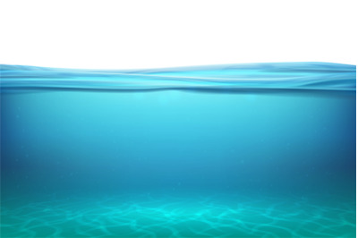 Lake underwater surfaces. Relax blue horizon background under surface