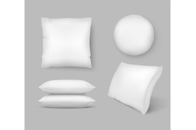 Realistic Comfortable Pillows. vector 3d comfort fluffy clean cushion