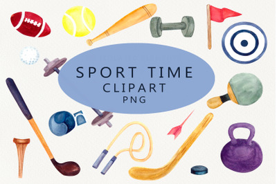 Sports time, watercolor clipart