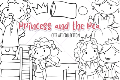Princess and the Pea Digital Stamps