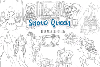 Snow Queen Fairy Tale Digital Stamps