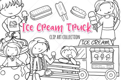 Ice Cream Truck Summer Digital Stamps