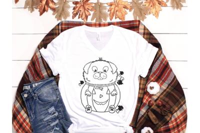 Fall Cut-File Pumpkin Pug Svg