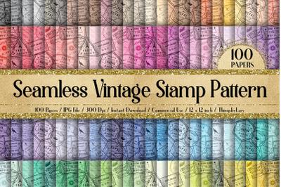 100 Seamless Old Vintage Postage Stamp Pattern Digital Papers