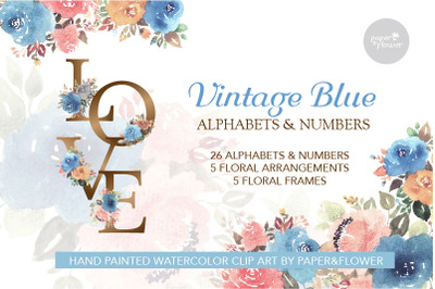 Floral Watercolor Alphabets Vintage Blue Set