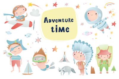 Funny children. Adventure time
