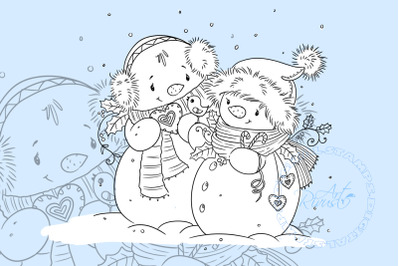 Digital stamp download - Christmas digi stamp, Cute Snowman coloring p