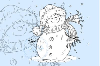 Digital stamp download - Christmas digi stamp, Cute Snowman coloring p