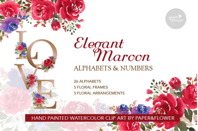 Floral Watercolor Alphabet Maroon