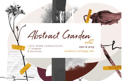 Abstract garden vol2. Modern and botanical collage