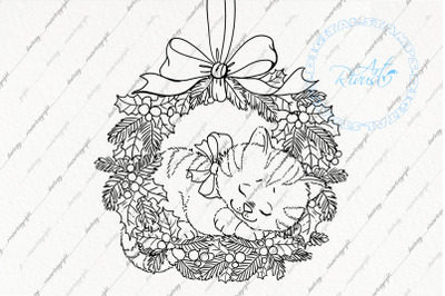 Digital stamp download - Christmas digi stamp, Cute Kitten in wreath c