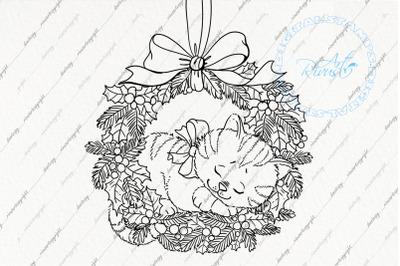 Digital stamp download - Christmas digi stamp, Cute Kitten in wreathc