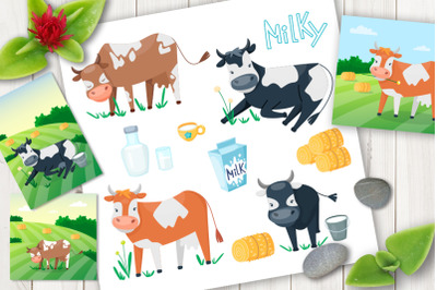 Cartoon cows cute vector set