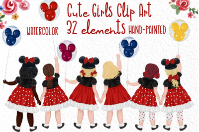 Cute Little girls Besties clipart Disney Trip clipart