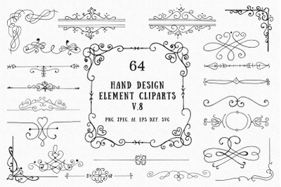 60+ Hand Design Element Cliparts Ver. 8